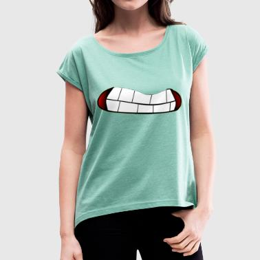 Effort Teeth mouth face effort effort - Women's T-Shirt with rolled up sleeves