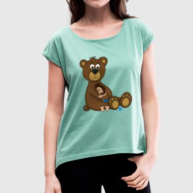 Uffi with teddybear - Women's T-Shirt with rolled up sleeves