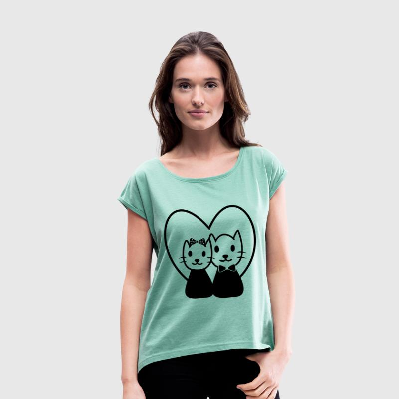 CAT IN LOVE Paare Partnerlook - Frauen T-Shirt mit gerollten Ärmeln