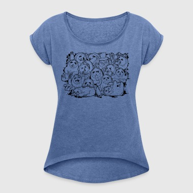 Sloth Family - Women's T-shirt with rolled up sleeves
