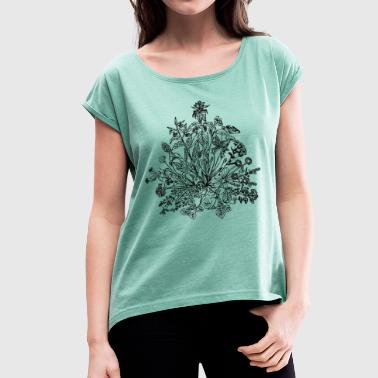 Edible wild herbs, green, vegan, cook, chef, food - Women's T-shirt with rolled up sleeves