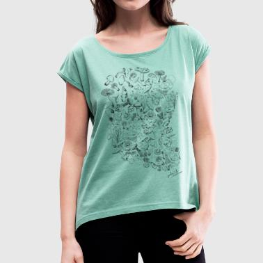 Magic mushrooms - Women's T-shirt with rolled up sleeves