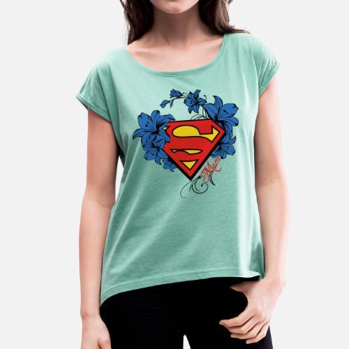 Superman Super Mom Flowers Red Frauen T-Shirt mit gerollten Ärmeln    Spreadshirt 9f6d8817a1