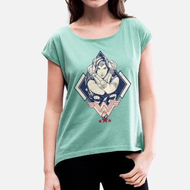 Bros Wonder Woman Crossed Arms Pose - T-shirt med upprullade ärmar dam