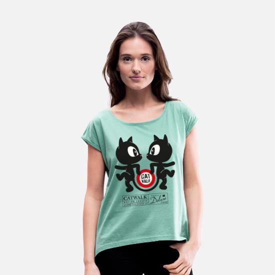 Officialbrands T-Shirts - Pussy Deluxe Catwalk Motion Society - Women's Rolled Sleeve T-Shirt heather mint