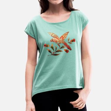 Nature Bird with flowers, summer, spring, illustration,  - Women's Rolled Sleeve T-Shirt