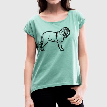 mastino © - www.dog-power.nl - Frauen T-Shirt mit gerollten Ärmeln