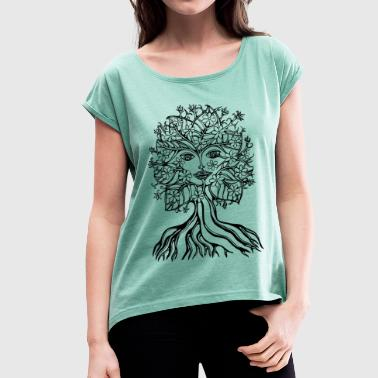 Tree fairy, save, earth, planet, forest, fantasy - Women's T-shirt with rolled up sleeves