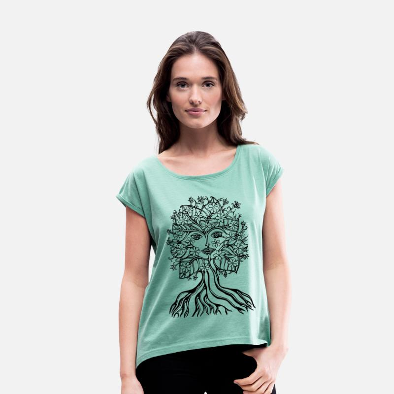 Fantasy Flower Power T-shirts - Tree fairy, save, earth, planet, forest, fantasy - T-shirt à manches retroussées Femme menthe chiné