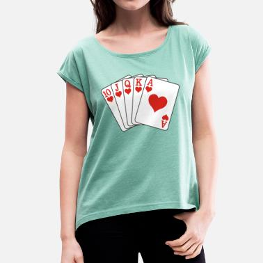 Royal Flush Poker Royal Flush - Dame T-shirt med rulleærmer