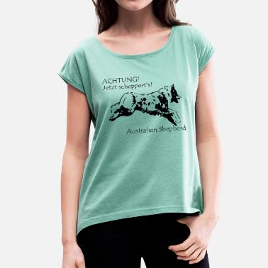 Scalable Australia Shepherd with spell - Women's T-Shirt with rolled up sleeves
