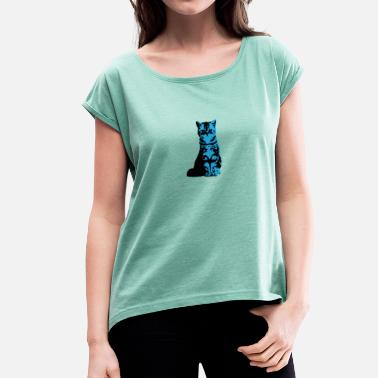 Blue Cat - Women's T-Shirt with rolled up sleeves
