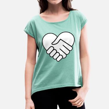 Heart Hands Hand in hand heart white - Women's T-Shirt with rolled up sleeves