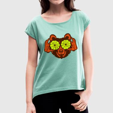 Bear eye drawing lemon hand drawing - Women's T-shirt with rolled up sleeves