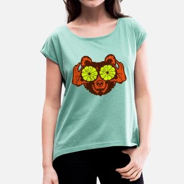 Hand Drawing Bear eye drawing lemon hand drawing - Women's T-Shirt with rolled up sleeves