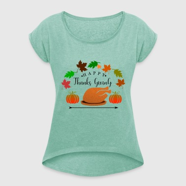 Thanksgiving - ThanksGiving kalkon och pumpa - T-shirt med upprullade ärmar dam
