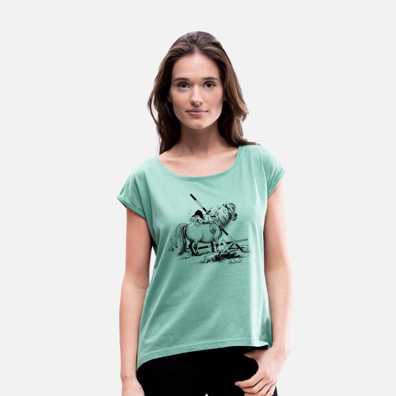 Officialbrands T-Shirts - Thelwell 'Hard-bitten Pony' - Women's Rolled Sleeve T-Shirt heather mint