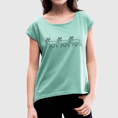 Caribou - Reindeer- xmas - Women's T-shirt with rolled up sleeves