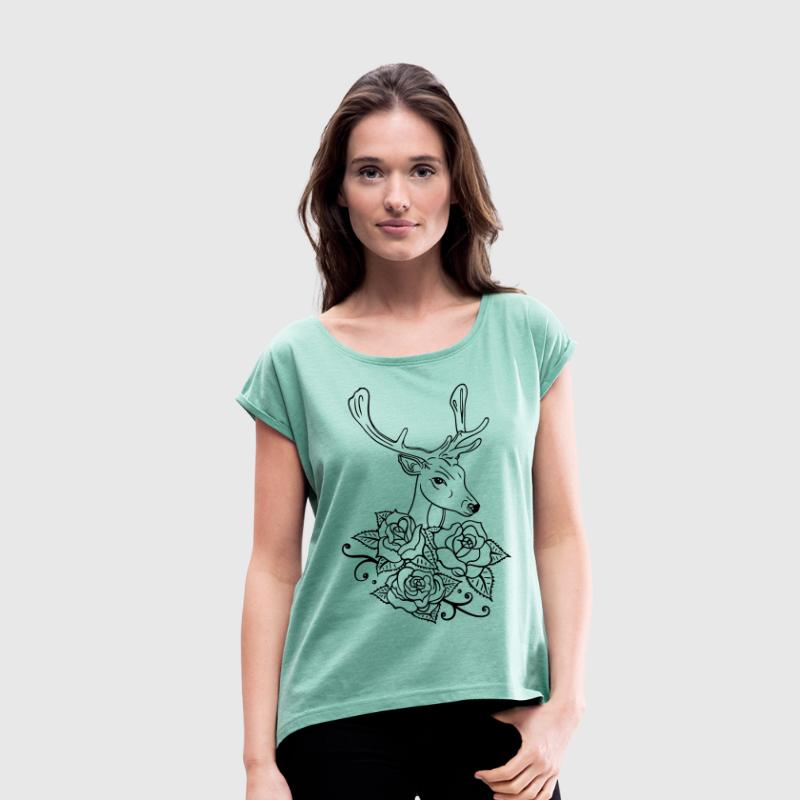 Deer with roses, Oktoberfest - Women's T-shirt with rolled up sleeves