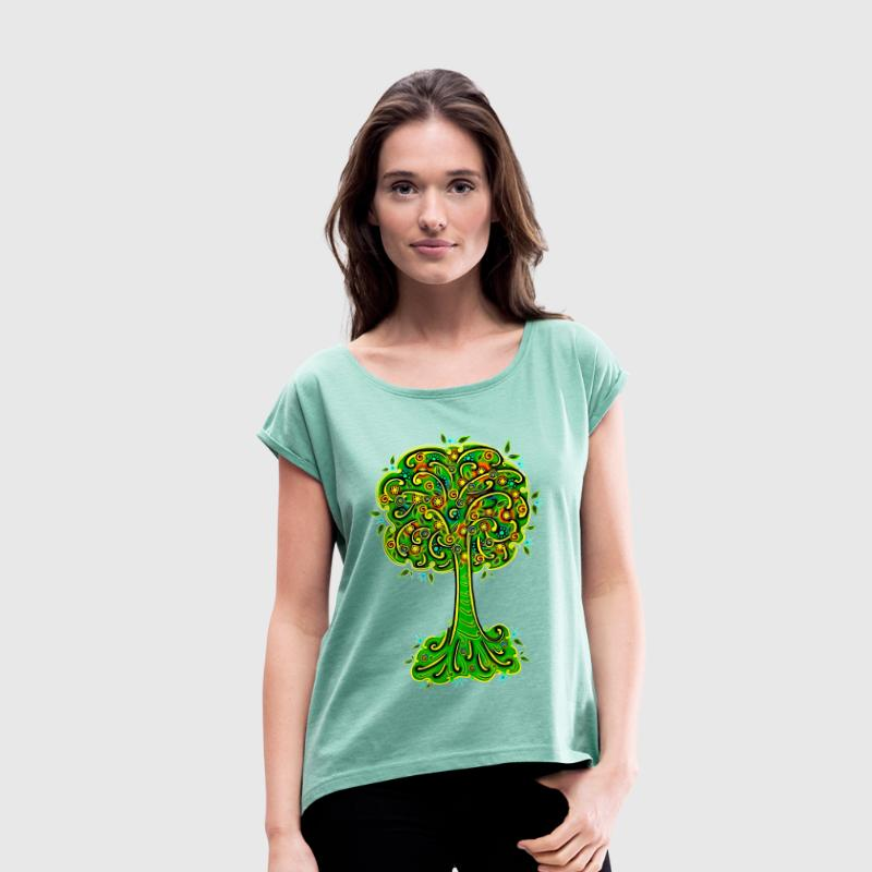 Tree, blossoms, forest, hiking, vegan, save nature - Women's T-shirt with rolled up sleeves
