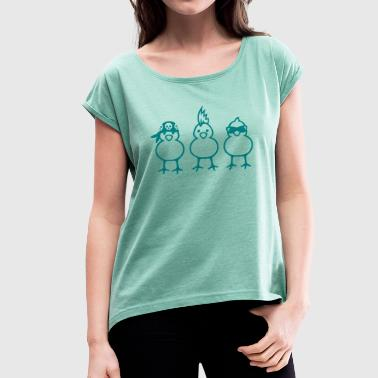 Three Chicks - T-shirt med upprullade ärmar dam
