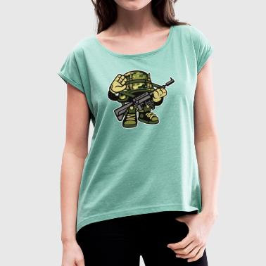 Comic Soldier Soldier - Women's T-Shirt with rolled up sleeves
