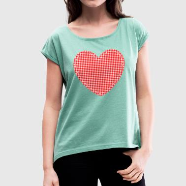 Plaid Heart plaid patch - Women's T-Shirt with rolled up sleeves