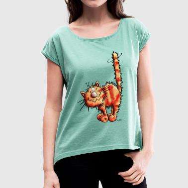 Red Cat - Women's T-shirt with rolled up sleeves