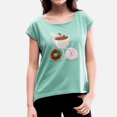 Cycling Donut Coffee Bicycle - Women's T-Shirt with rolled up sleeves
