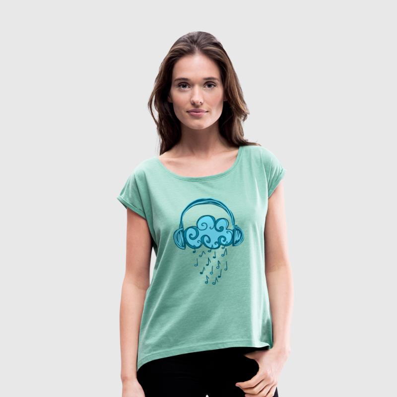 Headphones, Cloud, Music Notes, Rain, Clef, Party - Dame T-shirt med rulleærmer
