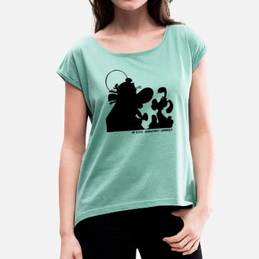 Magic &amp Asterix & Obelix with Idefix shadowTeenager T-Shir - Women's Rolled Sleeve T-Shirt
