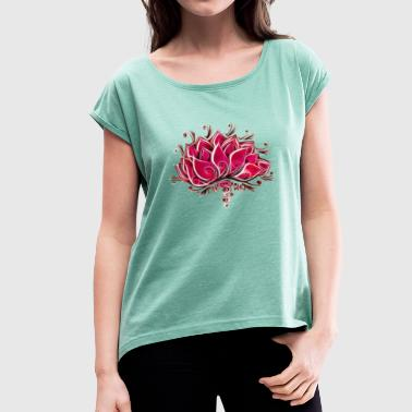 Lotus, blossom, flower, yoga, OM, buddhism, spirit - Women's T-Shirt with rolled up sleeves