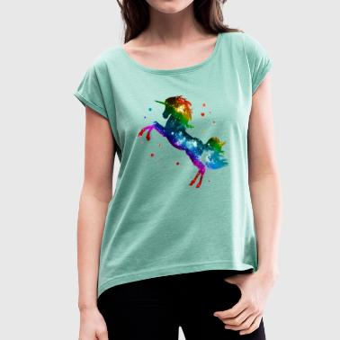 Unicorn rainbow, galaxy, space, gay, fantasy - Vrouwen T-shirt met opgerolde mouwen