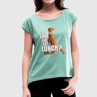 Animal Planet Hungriges Erdmännchen Lunch - Frauen T-Shirt mit gerollten Ärmeln