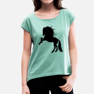 Black Horses Horse Illustration - Black Horse - Women's T-Shirt with rolled up sleeves