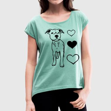 Staffy Dog puppylovestaffie2 - Women's T-Shirt with rolled up sleeves