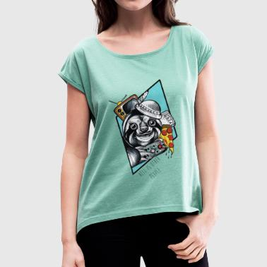 Pizza-Sloth - Women's T-shirt with rolled up sleeves