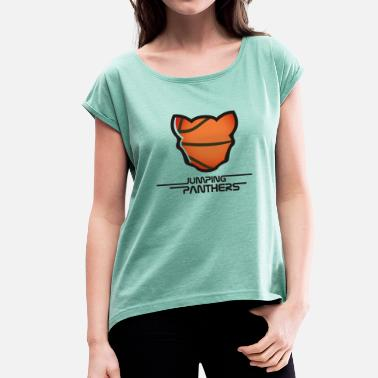 Basketball Panther basketbalshirt - Women's T-Shirt with rolled up sleeves