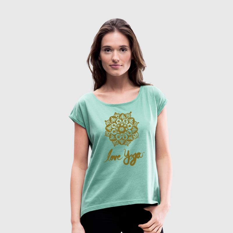 Love Yoga Mandala in Gold Print / Where / Colors - Women's T-shirt with rolled up sleeves