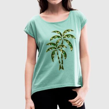 Palm Tree / Tattoo Style / DD / - Dame T-shirt med rulleærmer