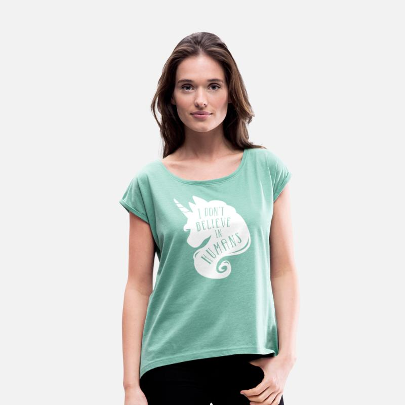Einhorn T-Shirts - Believe in Humans - Frauen T-Shirt mit gerollten Ärmeln Minze meliert