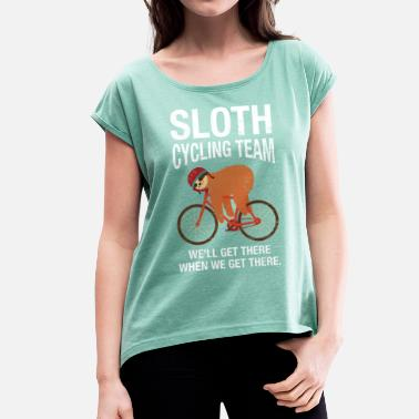 Sloth Cycling Team - Women's Rolled Sleeve T-Shirt