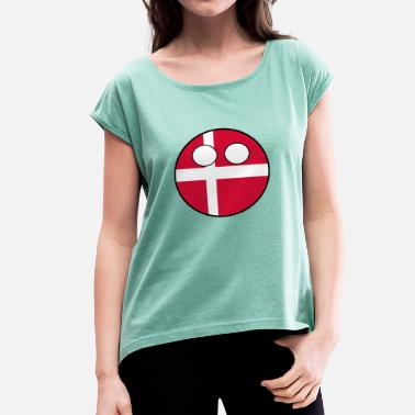 Countryballs Countryball Country Homeland Denmark - Women's T-Shirt with rolled up sleeves