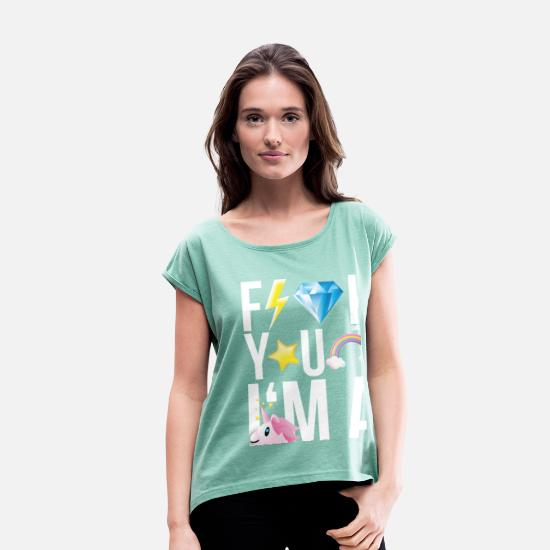 Officialbrands T-Shirts - SmileyWorld F**K YOU I'M A UNICORN - Women's Rolled Sleeve T-Shirt heather mint
