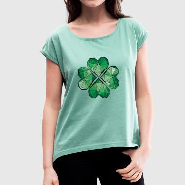 geometric lucky charm - Women's T-shirt with rolled up sleeves