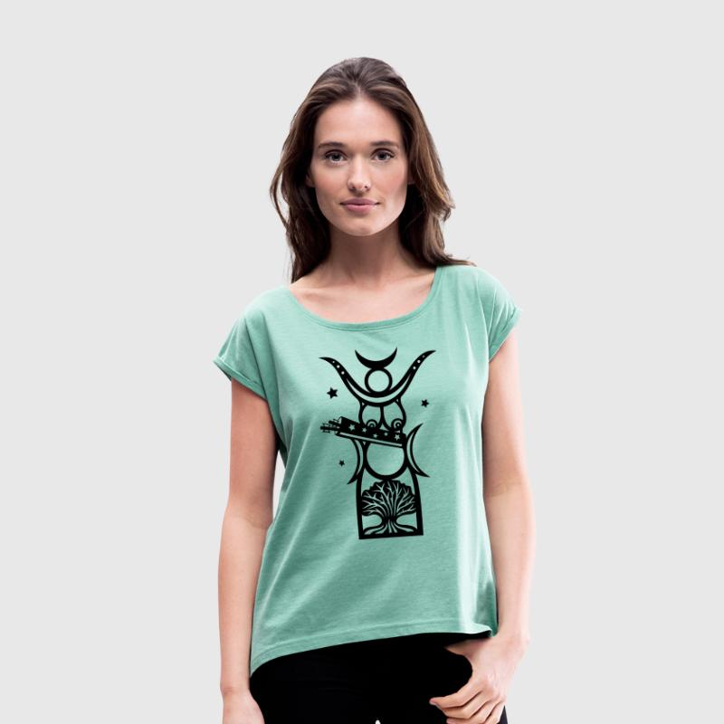 Diana, goddess of the forest, moon goddess - Women's T-shirt with rolled up sleeves