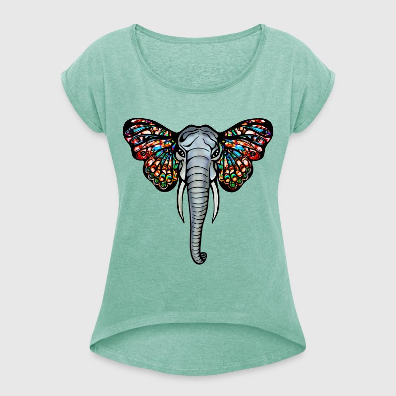 African elephant with butterfly ears, africa, art - Women's T-shirt with rolled up sleeves