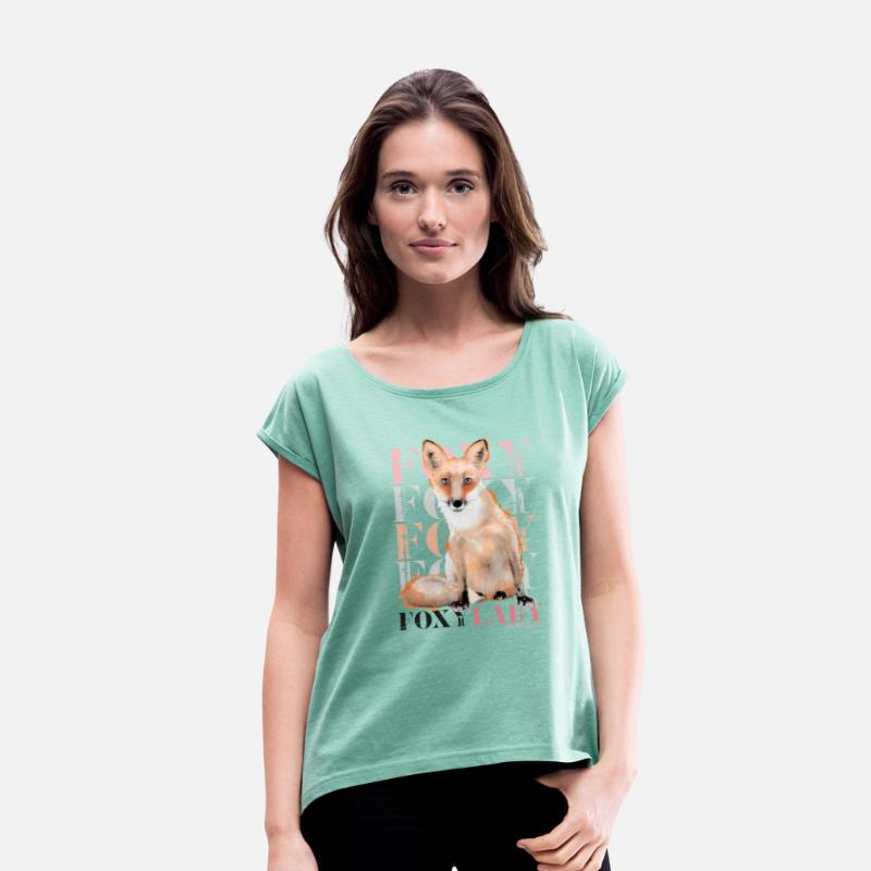 Fuchs T-Shirts - Animal Planet Foxy Frauen T-Shirt - Frauen T-Shirt mit gerollten Ärmeln Minze meliert
