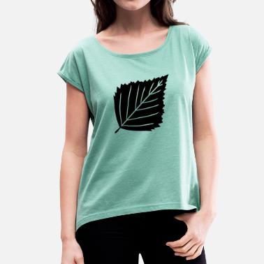 Black Bush black birch leaf tree plant shape clip art desi - Women's T-Shirt with rolled up sleeves