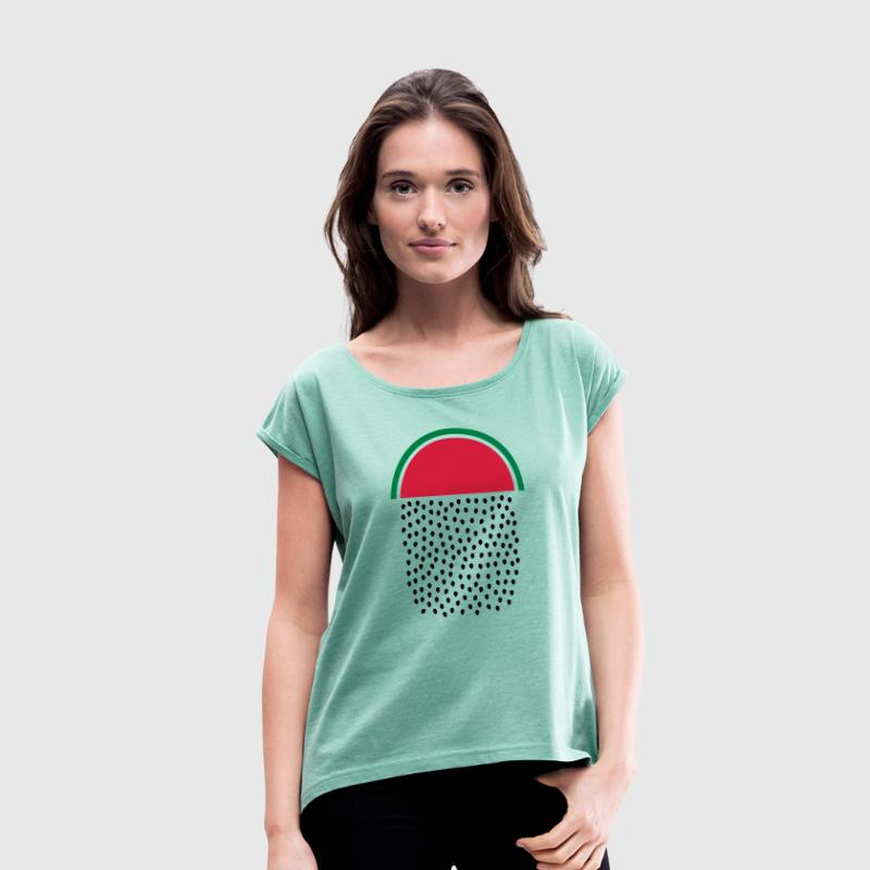 Watermelon Rain - Women's T-shirt with rolled up sleeves